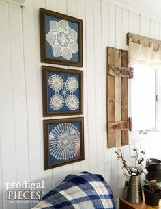 Doily Wall Art from Curbside Finds Farmhouse Wall Art Using Framed Doilies and Thrifted Finds by Prodigal Pieces Metal Tree Wall Art, Diy Wall Art, Framed Wall Art, Wall Art Decor, Wall Decorations, Wall Art Crafts, Fabric Wall Art, Wall Décor, Framed Doilies