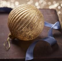 Gold Ribbed Glass Bauble With Glitter
