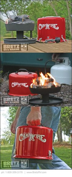 Have a campfire wherever you go! Our compact, portable campfire is great for campsites with fire restrictions against in-ground fires. Perfect for tailgating or on the patio…its size is convenient and perfect for wherever you need a fire. Realistic log pieces and full ring burner help create the natural look and ambiance of wood log campfires. Sturdy lid and secure latches make the Little Red Campfire safe and easy to transport. Uses standard LP gas. RV campground approved.