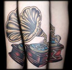 Grammophone tattoo.