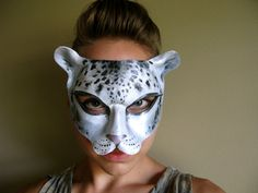 Snow Leopard Leather Mask  Cat  Masquerade Mask  by LovelyLiddy, $90.00