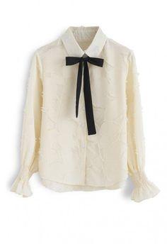 30c73c33fa2 Wishful Moment Tasseled Bowknot Shirt in Pink - NEW ARRIVALS - Retro