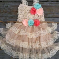 Rustic Flower Girl Dress-Lace Pettidress-Coral by CountryCoutureCo