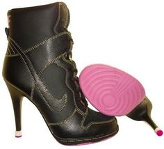 Womens Black and Hot Pink Nike Heels Dunk SB High