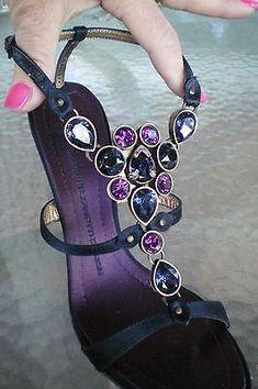GIUSEPPE ZANOTTI Luxury Jeweled Stilettos Heels Over the Top Glam Sz 37 Amazing