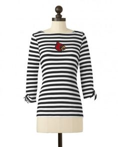 The University of Louisville Striped Boat Neck Top