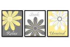 Yellow Grey Gray White Daisy Flower Print Set of 3 Relax Soak Unwind Art Print Wall Decor  Text can be changed eg: - Enjoy Every Moment - Refresh