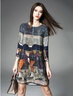 Multicolor Silk Print Ons Trim 3 4 Sleeve Side A Line Mini Dress