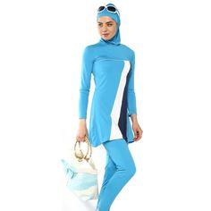 Modest Islamic Swimsuit Swimwear Burkini Muslim Beachwear Full Cover Costume, 3 piece - hijab + top + pants