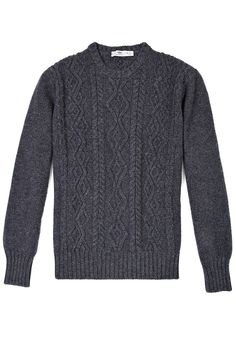 87a3171213c Charcoal Aran Crew Knit by Inis Meain