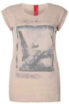 Yoursclothing Womens Plus Size Beige Jersey T-shirt With Eiffel Tower Print And