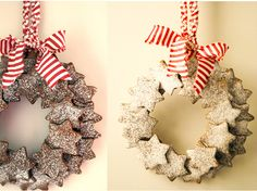 Fill your home with a Christmas-scented wreath constructed from homemade or store-bought gingerbread cookies.  Attach your sweets to a cardboard wreath and lightly dust them with a touch of snowy...
