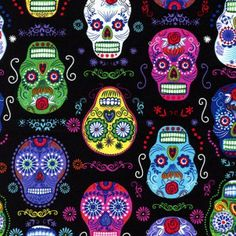 Timeless Treasures - Skulls Black