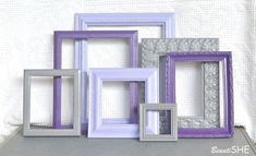 Purple Lilac Grey Frame Set Custom Frames Open or Frames with GLASS You Choose Frame Collection Gray Purple Lilac