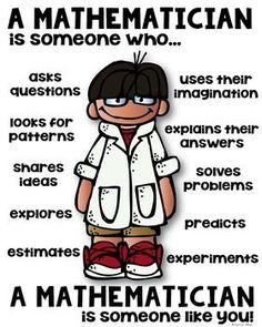 Mathematician Poster for Elementary [someone who] A mathematician is someone who - elementary classroom poster!A mathematician is someone who - elementary classroom poster! Math Teacher, Math Classroom, Teaching Math, Teacher Signs, Maths Guidés, Fun Math, Math Fractions, Math Resources, Math Activities