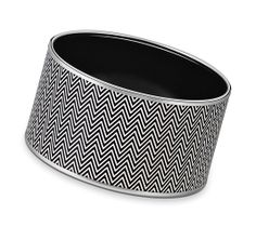 "Chevrons Hermes extra wide printed enamel bracelet Silver and palladium plated, 1.5"" wide, 2.5"" diameter"