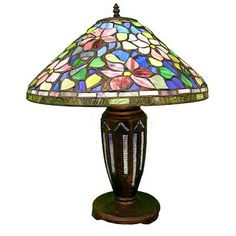 Warehouse of Tiffany GB50+ES02 Style Floral Table Lamp