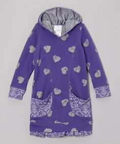 Take a look at this Purple Heart Damask Pocket Hoodie Dress - Toddler & Girls by Freckles + Kitty on #zulily today!