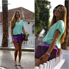 Nowistyle Tshirt, Natura Shorts http://marilynsclosetblog.blogspot.com/2013/08/mint-and-violet.html