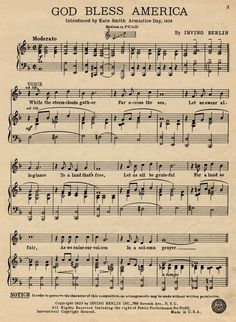 """""""God Bless America""""   By Irving Berlin. Irving Berlin Inc. Music Publishers. NYC, 1939.  From the Popular American Sheet Music Collection, Department of Special Collections, Miller Nichols Library."""