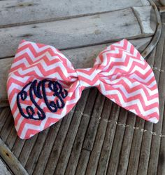 Bow Tie Style Monogram Chevron Hair Bow by devonalana on Etsy Embroidery Monogram, Embroidery Applique, Machine Embroidery, Chevron Monogram, Monogram Initials, Hair Ribbons, Tie Styles, Cheer Bows, Girly Things