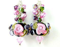 Pink Rose Glass Bead Earrings