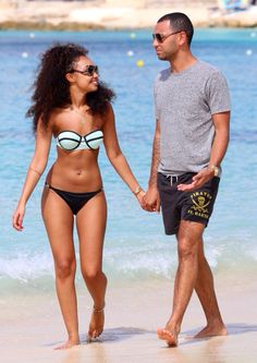 Leigh-Anne with Jordan at the beach in Barbados