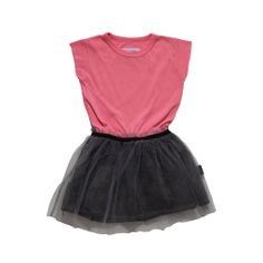 $80 Magic Dress with cut sleeve pink T-top and a hand dyed double layered grey tulle skirt. #tulle #magicdress #nununu #kidsfashion