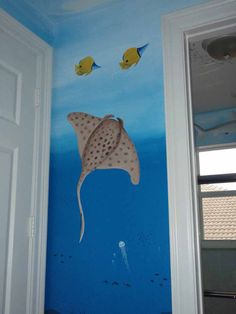 Image detail for -Hand Painted Ocean Mural in Bathroom