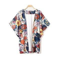 Trendy 3/4 Sleeve Collarless Floral Print Kimono Blouse For Women ❤ liked on Polyvore featuring tops and blouses