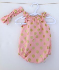 Pink with Gold Spots Baby Girl Playsuit Romper with matching knotted headband