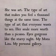 she is art.
