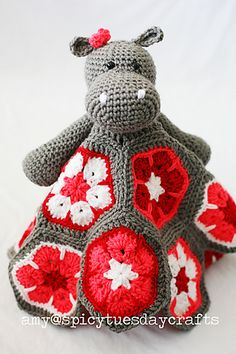 My first from my African Flower Blanket Buddy collection…the African Hippo Blanket Buddy!