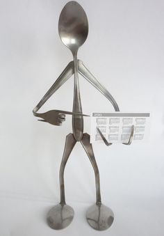 Spoon man business card holder by Shopofmetaldreams on Etsy, $29.00