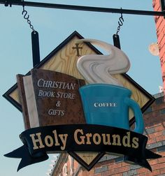 This sign for a Christian bookstore / coffee shop in Fort Worth, TX, made me laugh! -- This is by AntTree, Christian Book Store, Storefront Signs, Coffee Instagram, Coffee Signs, Coffee Meme, Coffee Quotes, Pub Signs, Shop Fronts, Store Signs