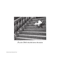 Edward Gorey's twisted and tragic alphabet book: fine-art prints of each letter. From A is for Amy who fell down the stairs to Z is for Zillah who drank too much gin, plus the Front Cover drawing, all 27 darkly hilarious prints are available. ... Funny how of all the gruesome choices available my name was given stairs. Did this man know me? lol