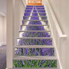 Purple Lavender Stair Risers Decoration Photo Mural Vinyl Decal Wallpaper UK Source by I do not take credit for the images in this pos. Stairway Art, Stairway To Heaven, Stairway Walls, Staircase Wall Decor, Staircase Design, Decoration Photo, Escalier Design, Stair Stickers, Wall Stickers