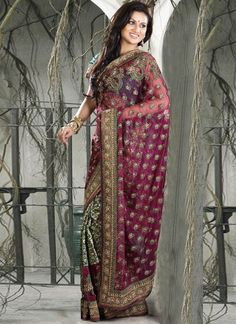 Beautiful and ornate net saree. Love the embroidery!