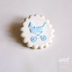 Baby Boy Vintage Pram Cookie Favors -- for christening baby shower or first birthday
