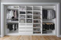 """Description Tessa 132"""" W Kloset Closet System (36"""" set + 18"""" set + 18"""" set + 24"""" set + 36"""" set) Create your dream closet and maximize your storage space with Tessa 132"""" W Kloset Closet System. This multi-piece kit includes drawers, open adjustable shelving, and pole for hanging clothes, so you can give everything its own spot. What's Included 12 Shelf/Shelves 8 Drawer(s) 4 Closet Rod(s)/ Clothes Rail(s) 6 Shoe Shelf/Shelves Product Details Shelves Included: Yes Soft Close Drawers Included: Yes P Small Closet Design, Walk In Closet Small, Master Closet Design, Custom Closet Design, Master Bedroom Closet, Small Closets, Closet Designs, The Closet, Vanity In Closet"""