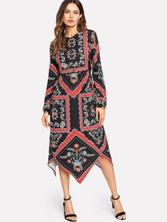 Long Sleeve Dresses. Long Tunic Decorated with Button, Asymmetrical. Designed with Round Neck. High Waist. Perfect choice for Tribal wear. Floral design. Trend of Spring-2018, Fall-2018. Designed in Multicolor.
