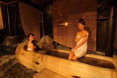 Take in a view of the townscape below from the open-air baths. Gifu, Nagoya, Baths, The Selection, Rooms, Bedrooms