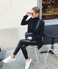 Teenage Autumn Street Style Outfits To Inspire You - Damen Mode 2019 Street Style Outfits, Mode Outfits, Fall Outfits, Casual Outfits, Women's Casual, Black Outfits, Classy Outfits, Summer Outfits, Black Blazer Outfit Casual