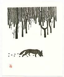 fox snow lino prints - Google Search