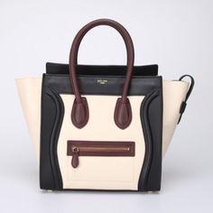 Celine boston smile tote handbag 88032 White with black/dark red - CELINE handbags - Replica Handbags