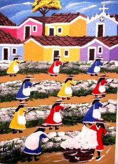 GONDIM TEMA COLHEDORES DE ALGODAO A VENDA COM AJUR SP (Painting),  20x30 cm por Arte Naif AJUR SP VENDEDOR E DIVULGADOR DA ARTE NAIF BRASILEIRA