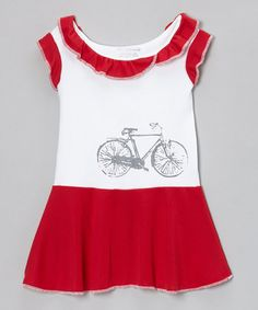 Take a look at this Ruby Red Vintage Bicycle Ruffle Dress - Infant, Toddler & Girls by Team Chipmunk on #zulily today!