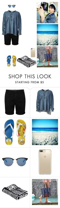 """Beach day with my sister"" by rebelxchild ❤ liked on Polyvore featuring Topman, Faith Connexion, Havaianas, GET LOST, Yves Saint Laurent and Speck"