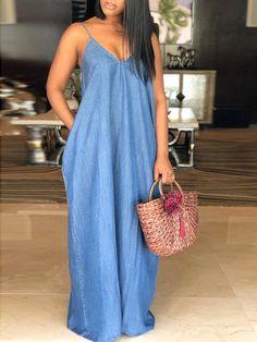 Dark blue pockets draped spaghetti strap plus size v-neck casual denim maxi dress - maxi dresses - dresses Trend Fashion, Denim Fashion, Fashion Outfits, Fashion Women, Fashion Online, Fashion 2020, Style Fashion, Fashion Ideas, Latest Fashion