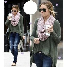 Love the shirt and the scarf together <3